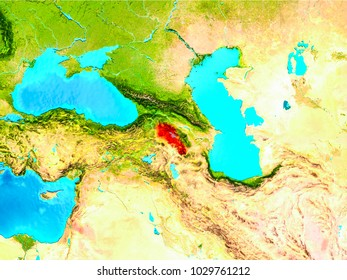 Armenia highlighted in red on planet Earth. 3D illustration. Elements of this image furnished by NASA.