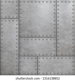 armor plates with rivets as metal background 3d illustration