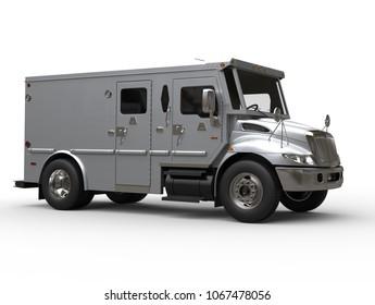Armored cash transport car - blue silver - studio shot - 3D Illustration