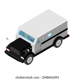 Armored cash truck isometric view. Utility security van vehicle. raster