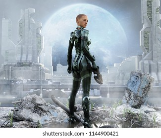 Armored female soldier posing in front of a futuristic city. 3d rendering