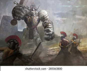armored giant  fighting many warriors