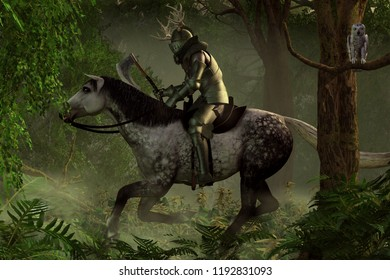 A armored medieval knight, axe in hand, and with a helmet decorated with antlers, rides his horse through a dense forest. 3D Rendering
