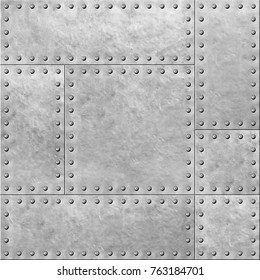 armored metal plates with rivets seamless background or texture 3d illustration