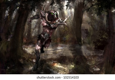 armored minotaur running in the forest