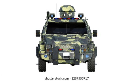 Armored SUV truck, bulletproof army vehicle, camo military car isolated on white background, front view, 3D rendering