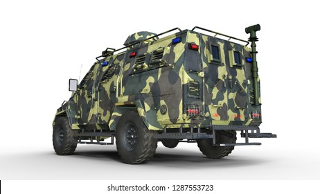 Armored SUV truck, bulletproof army vehicle, camo military car isolated on white background, back view, 3D rendering