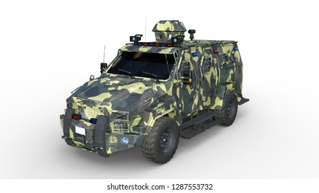 Armored SUV truck, bulletproof army vehicle, camo military car isolated on white background, 3D rendering