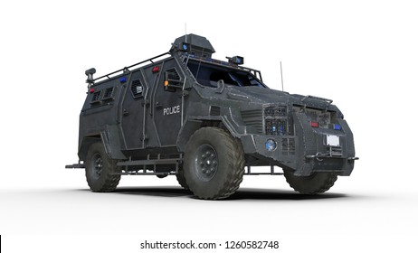 Armored SUV truck, bulletproof police vehicle, law enforcement car isolated on white background, bottom view, 3D rendering