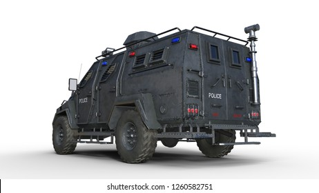 Armored SUV truck, bulletproof police vehicle, law enforcement car isolated on white background, back view, 3D rendering