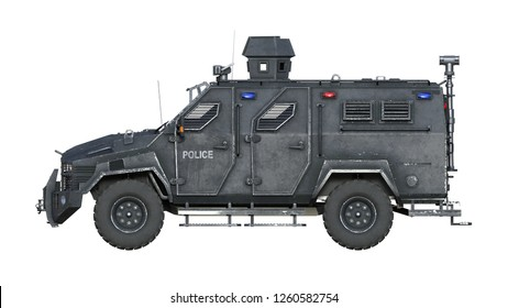 Armored SUV truck, bulletproof police vehicle, law enforcement car isolated on white background, side view, 3D rendering