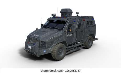 Armored SUV truck, bulletproof police vehicle, law enforcement car isolated on white background, 3D rendering