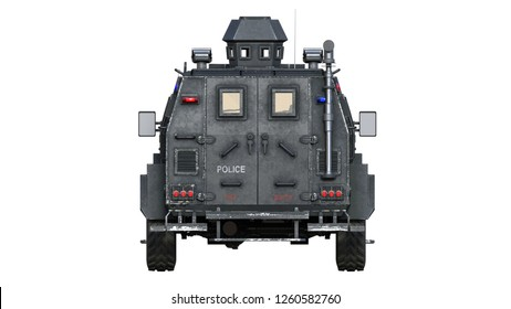 Armored SUV truck, bulletproof police vehicle, law enforcement car isolated on white background, rear view, 3D rendering