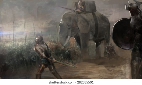 army with elephant attacking enemy