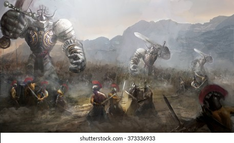 army fighting giants