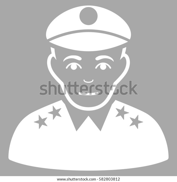 Army General glyph icon. Flat white symbol. Pictogram is isolated on a silver background. Designed for web and software interfaces.