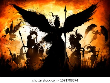 An army of great knights, with different weapons, from different eras and cultures led by an angel, with a shield and a spear, against a bright orange sunset. 2D Illustration.