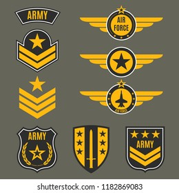 Army and military badge set. Shields with army emblem.