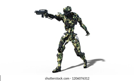 Army robot, armed forces cyborg, military android soldier aiming and shooting gun on white background, 3D rendering