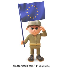 Army soldier character in 3d wearing uniform and saluting the European flag, 3d illustration render