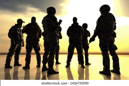 Army of soldiers small group meeting under sunset 3d render