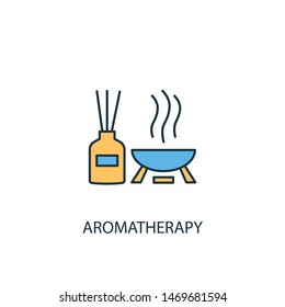 aromatherapy concept 2 colored line icon. Simple yellow and blue element illustration. aromatherapy concept outline symbol design