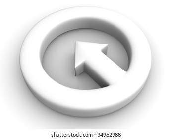Aroow in circle. 3d