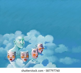 around a female figure that mingles with clouds turn 4 masks, a child, a teenager, a woman, an elderly