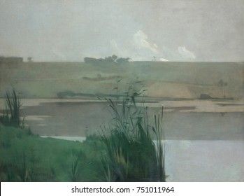ARQUES-LA-BATAILLE, by John Henry Twachtman, 1885, American painting, oil on canvas. This large studio landscape is based on a preliminary oil study made at the scene. The grayed, low key tones of the