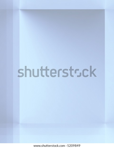 Arrangement of different sized rectangular shapes in varying shades of blue, cyan and silver grey.