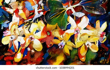 The arrangement of flowers and buds in the bouquet. The painting is made in oil on canvas with elements of pastel painting. Abstraction based on Kandinsky.