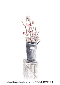 Arrangement of a flowers in a tall vase. Branches of cotton buds and red berries. Ikebana isolated on white background. Hand drawn sketch illustration. Watercolor textured painting.