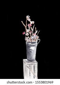 Arrangement of a flowers in a tall vase. Branches of cotton buds and red berries. Ikebana isolated on black background. Hand drawn sketch illustration. Watercolor textured painting.
