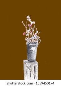 Arrangement of a flowers in a tall vase. Branches of cotton buds and red berries. Ikebana isolated on brown background. Hand drawn sketch illustration. Watercolor textured painting.