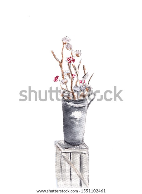 Arrangement Flowers Tall Vase Branches Cotton Stock Illustration 1551102461