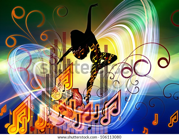 Arrangement of girl silhouette, notes, lights and abstract design elements on the subject of music, song, performance and dance