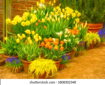 Arrangement of potted flowers, including hybrid tulips, daffodils, narcissus, and Bowles golden grass (binomial name: Milium effusum var. aureum), in a spring garden, with digital painting effect