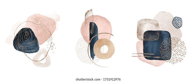 Arrangements. Navy blue, blush, pink, ivory, beige watercolor Illustration and gold elements, on white background. Abstract modern print set. Logo. Wall art. Poster. Business card.
