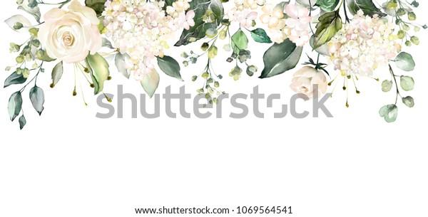 аранжировки с акварельными цветками. цветочная иллюстрация. Ботаническая композиция для свадьбы или открытки. Ветка цветов - абстракция роз
