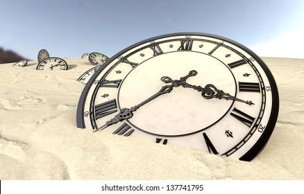 An array of half buried antique clocks scattered across a sandy desert landscape under a blue sky