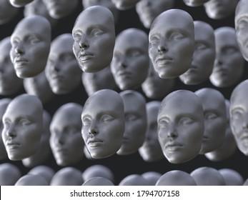 matriz de máscaras de caras humanas, ilustración 3d