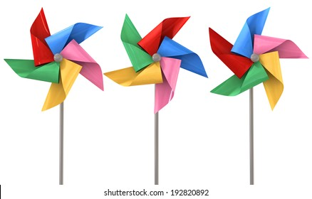 An array regular toy pinwheel windmills with five differently colored vanes on sticks on an isolate white background