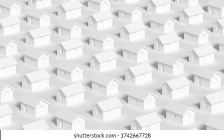 An array of simple small white rural houses, town block abstract cgi representation, 3d rendering illustration