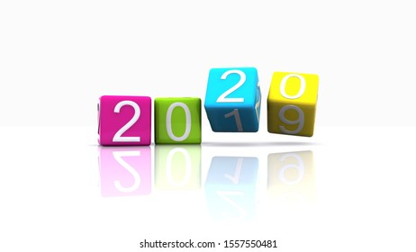 Arrival of the new year 2020 in 3D