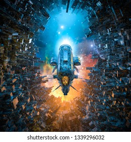Arrival on space colony / 3D illustration of heavy armoured battle cruiser spaceship gliding into futuristic city space station