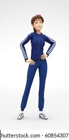 Arrogant, Swaggering and Cynical Jenny - 3D Cartoon Female Character Sports Model Smirking, in Athletic Gym Sweat Suit, Isolated on White Spotlight Background