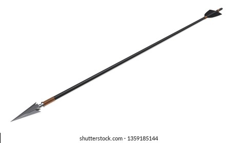 Arrow with arrowhead, shaft and feathers 3D rendering isolated on white background