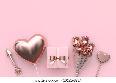arrow balloon heart gift flower abstract metallic valentine concept 3d rendering