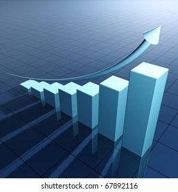 Arrow and bar chart illustrating growth - 3d  render
