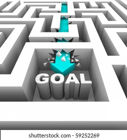 A arrow breaks through walls in a maze to reach a goal